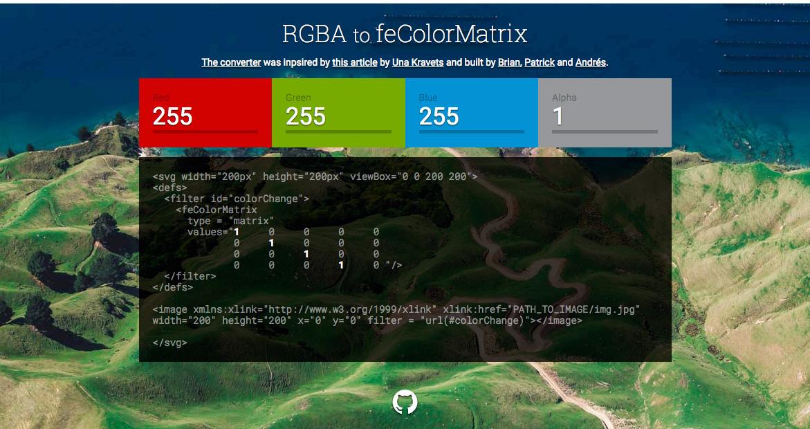 The RGBA to feColorMatrix converter